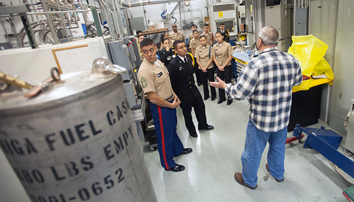 ROTC students receive a tour of the McClellan Nuclear Research facility on Jan. 11, 2018. A new educational outreach program, the Nautilus Program, is giving students in the great Sacramento region hands-on experience with MNRC's nuclear reactor, the largest university-operated reactor on the West Coast. (Gregory Urquiaga/UC Davis)
