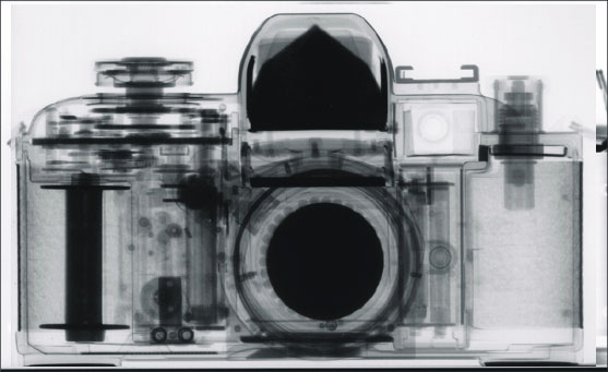 Neutron radiography of a 35 mm film SLR camera