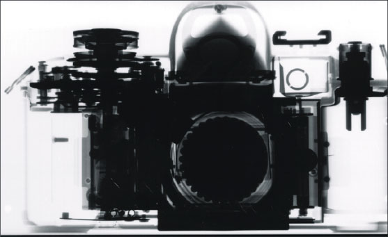 X-ray of a 35 mm film SLR camera